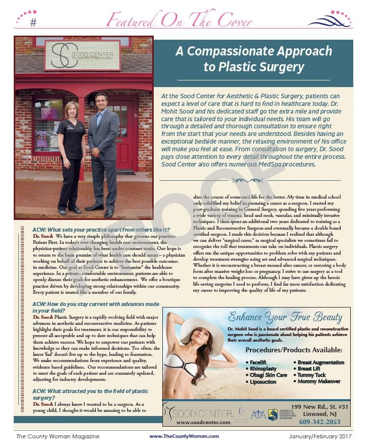 The Sood Center's Feature in the January/February 2017 issue of The County Woman Magazine