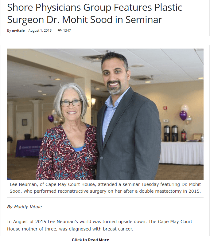 Dr. Sood Feature in Shore Physicians Group Website