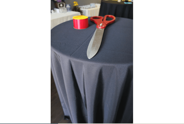 Scissors and Ribbon On Table for the Opening Event