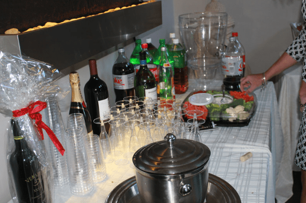 Drink Table Set Up with Soda, Wine and Champagne