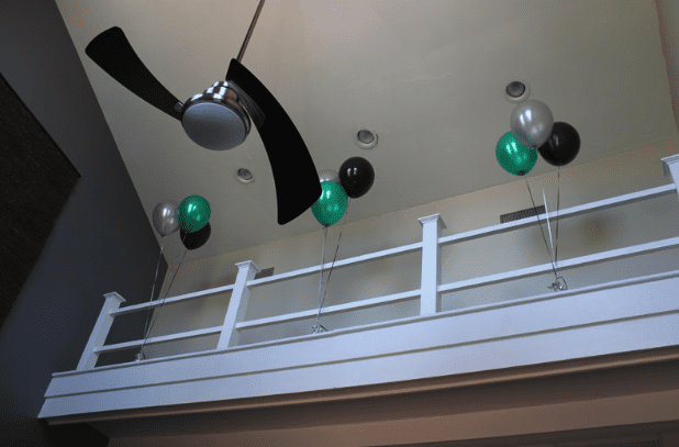 Ceiling Shot of Fan and Balloons for Opening Event