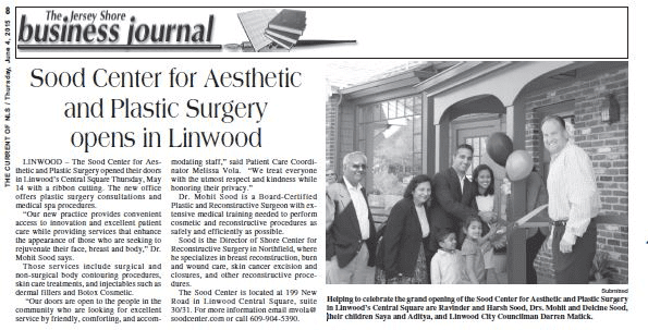 Sood Center's Feature in The Jersey Shore Business Journal